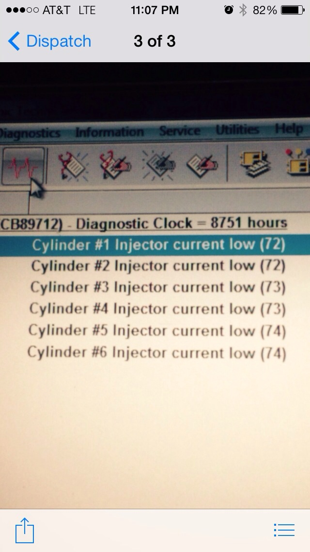 I have a 2007 frt with c13  Has six injector codes low current