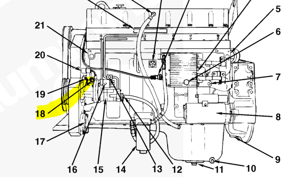 international 4300 dt466 oil sensor location