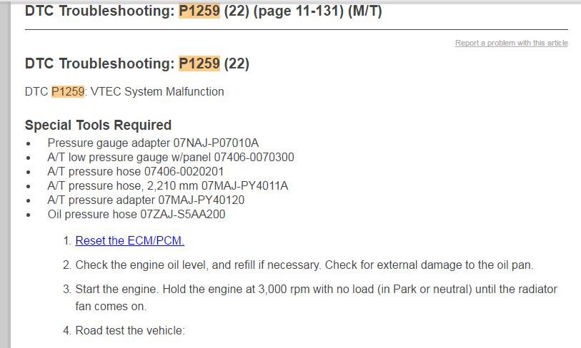 2003 CRV  P1259 Vtec failure error  Power cuts out around 3K RPM's