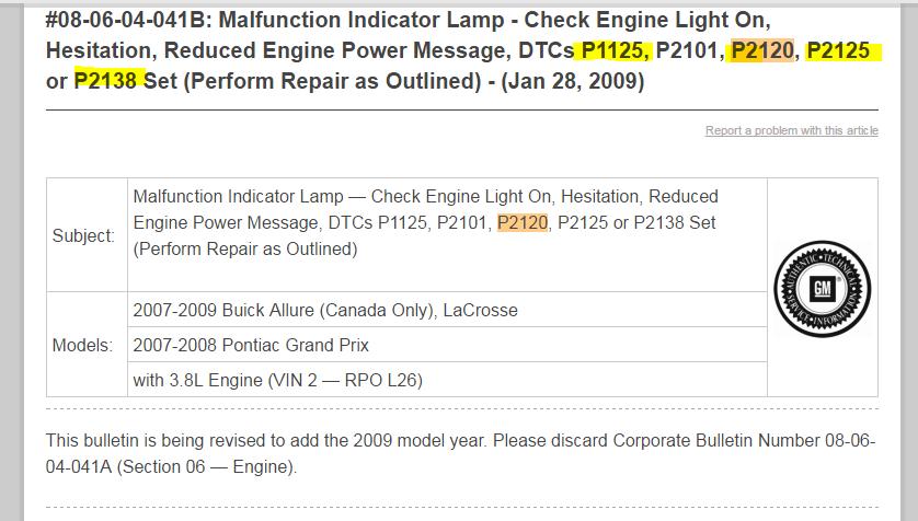 2007 pontiac grand prix reduced engine power