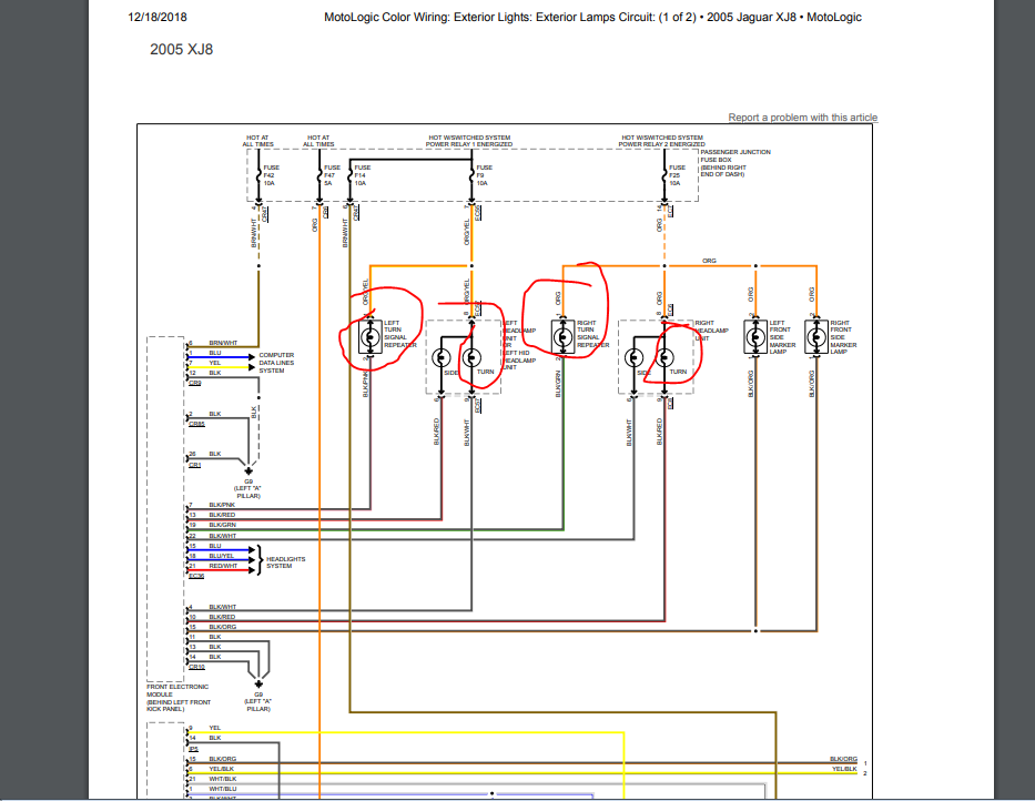 do you know where i can find a wiring diagram for the front headlights on a  2005 jaguar xj8? i have a hanging wire on my  justanswer