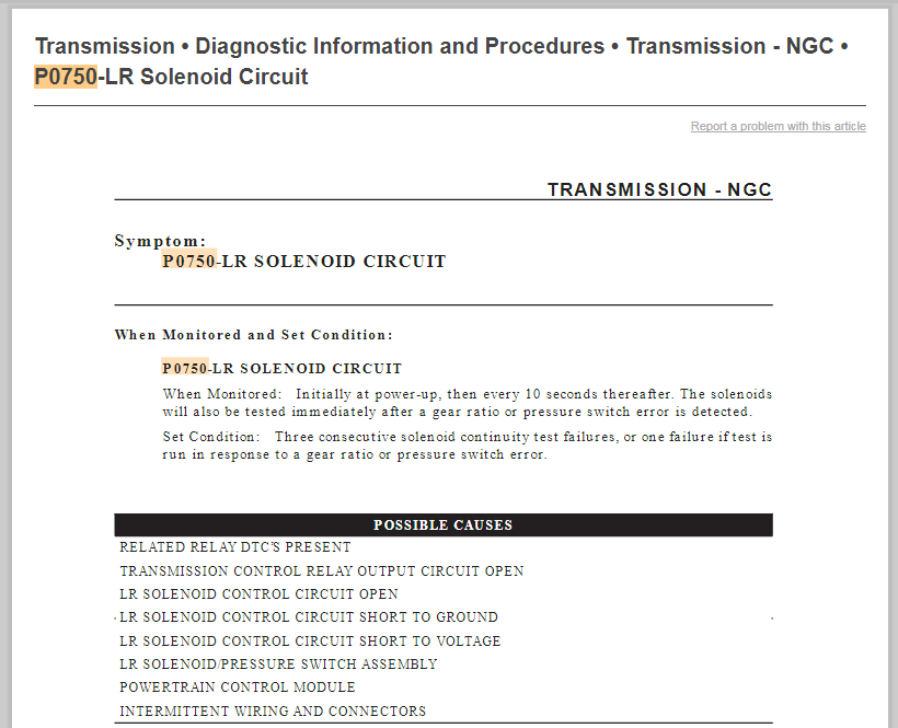 04 chrysler Pacifica transmission has code p0750 and p0700