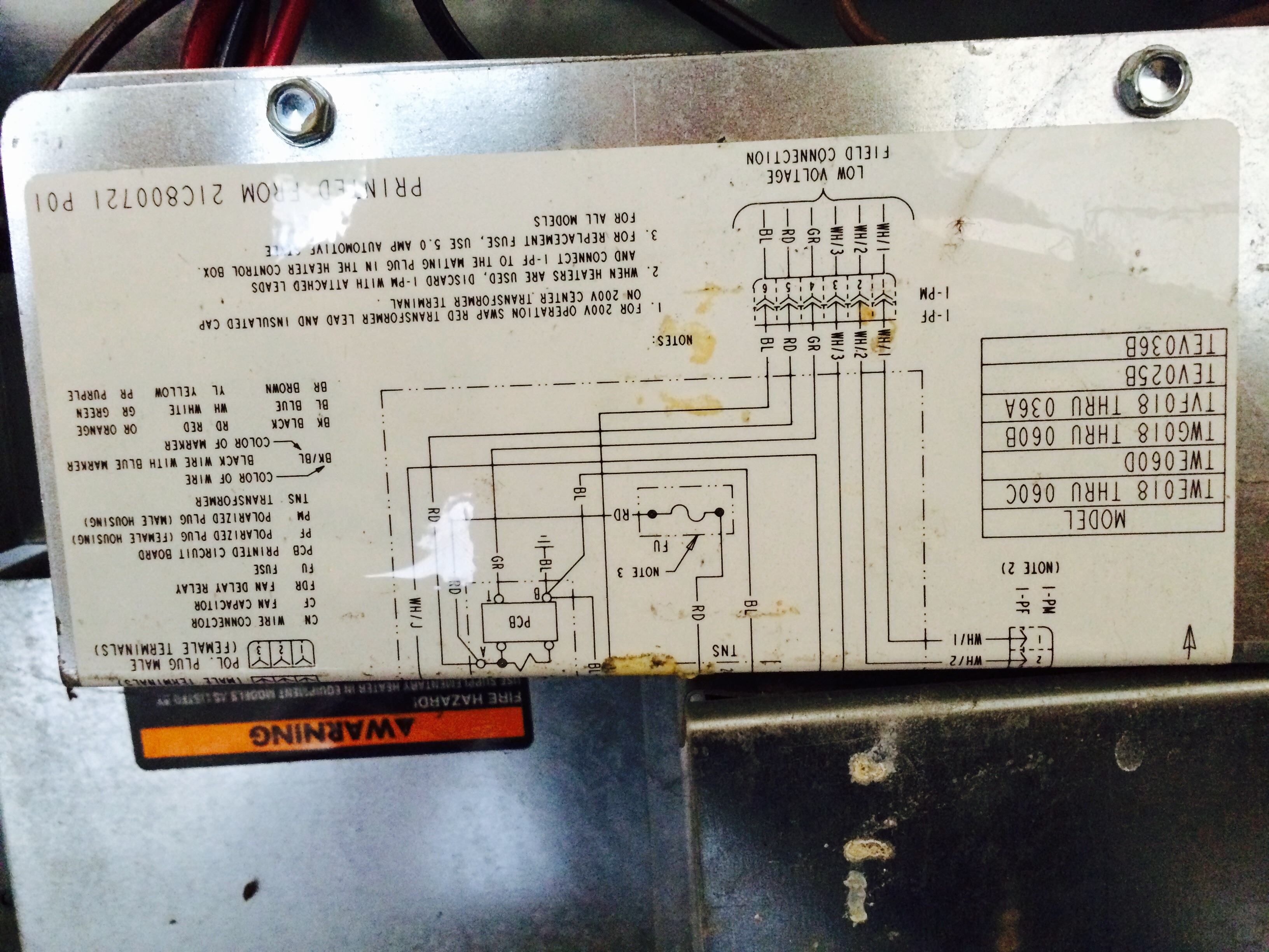 Trane Twe036c140b0 Wiring Diagram Wire Center Diagrams Model Twe Furnace Blower Works But No Heat Where Rh Justanswer Com Air Handler Schematics