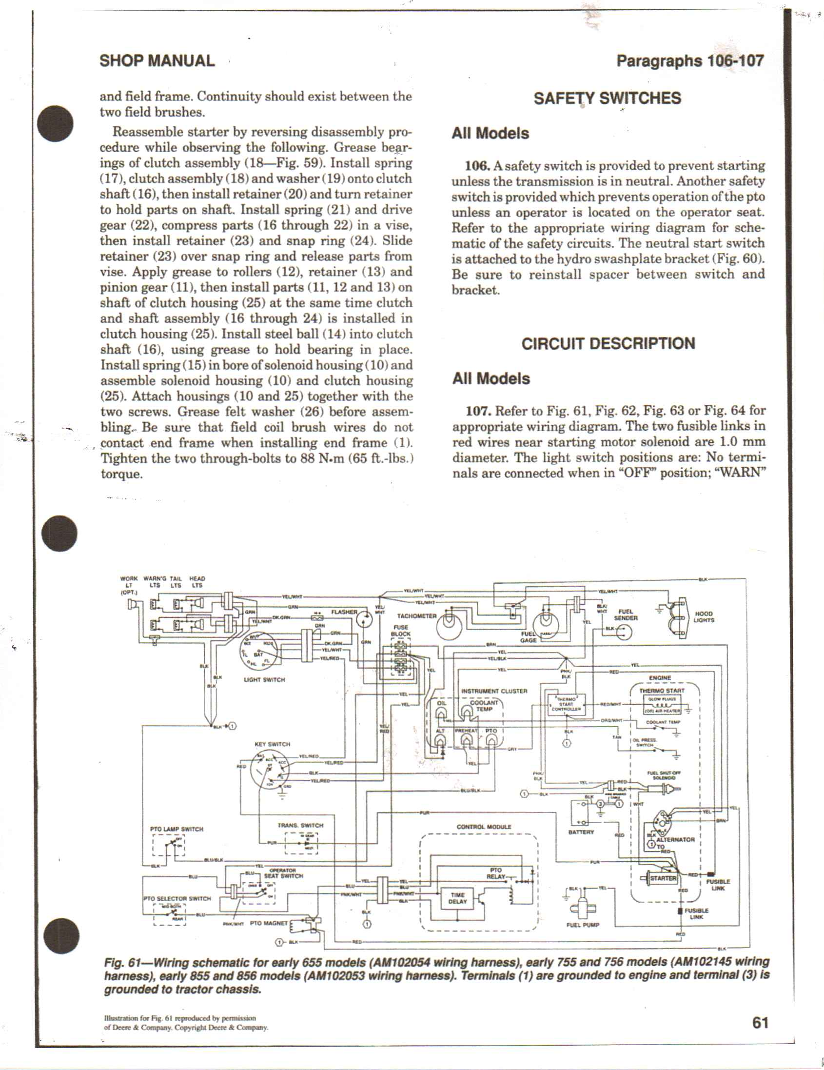 I have a John deere 855 compact tractor wont start with the – John Deere Light Switch Wiring Diagram