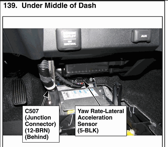 honda odyssey yaw rate sensor location