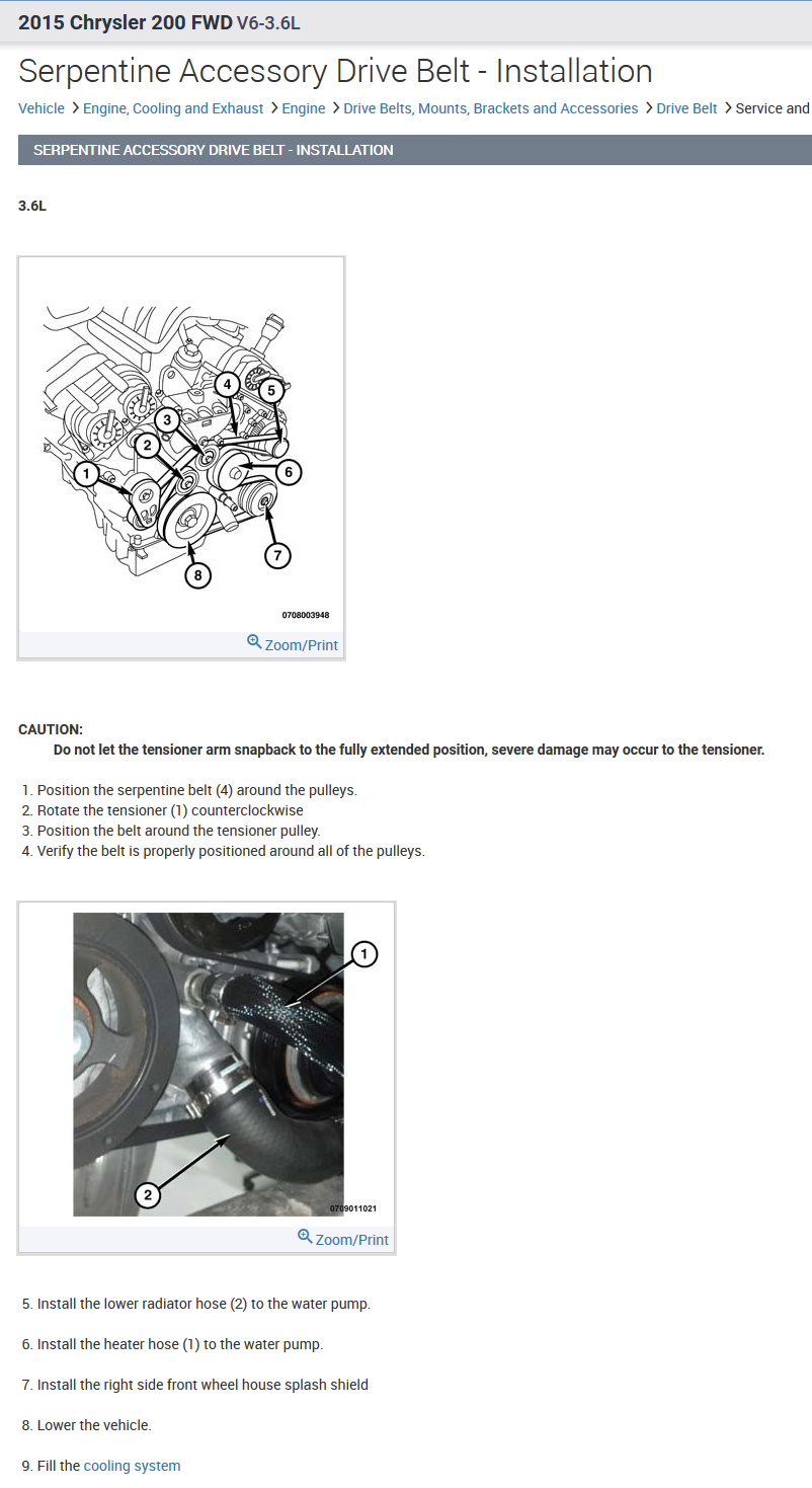 I am needing a diagram for installing a serpentine belt on a 2015 Chrysler  200sJustAnswer