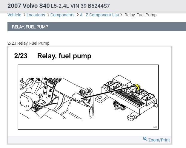 2007 Volvo S40 Fuel Pump Relay Location  129000 Still