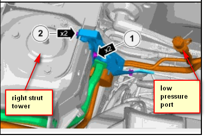 Where can i find the a/c low pressure port in a volvo xc60 2010, for