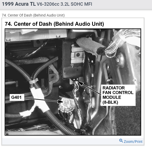 Where is the fan control module located on a 1999 Acura TL