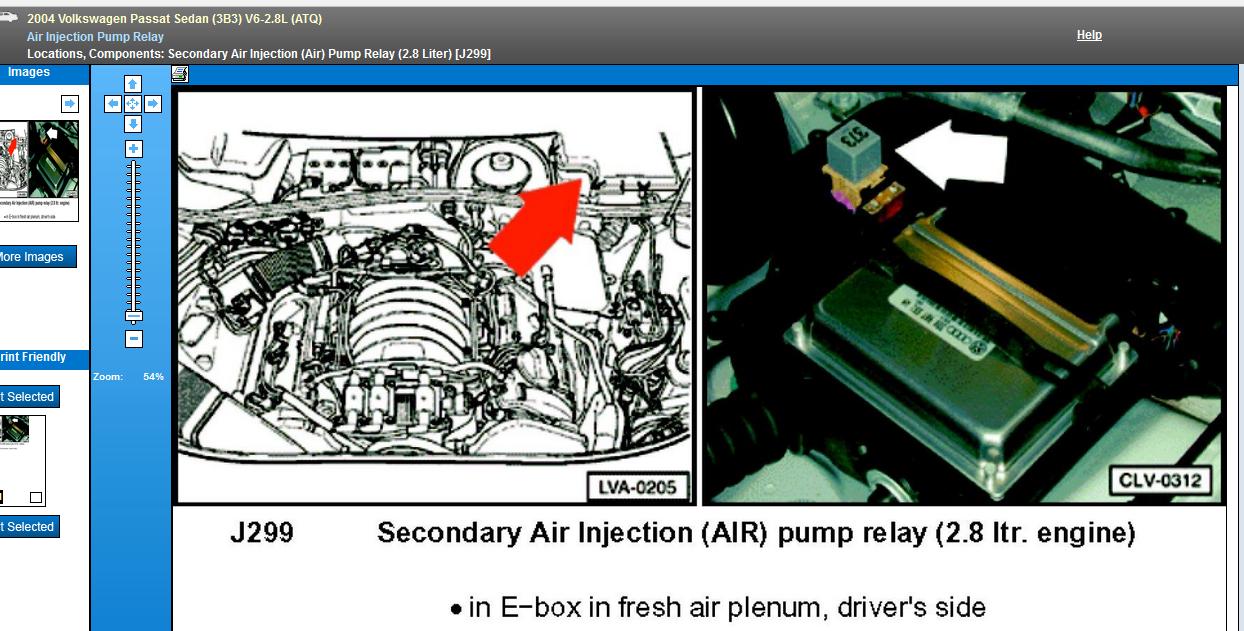 2003 passat secondary air pump relay