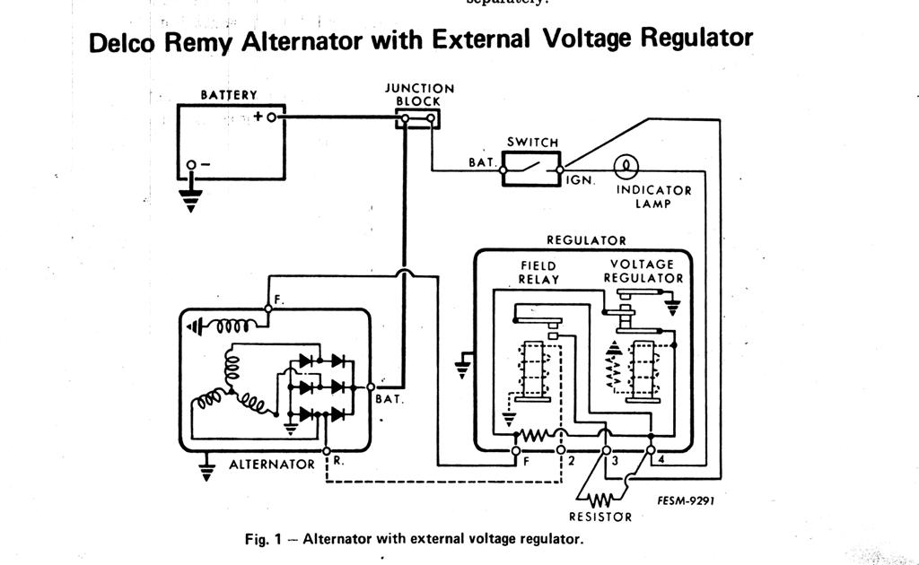 [SCHEMATICS_4JK]  I have to replace voltage regulator on 1963, cj5 12v. Old regulator has 4  terminals on rt. Side. New replacement (Crown) | Delco Remy 6 Volt Wiring Diagram |  | JustAnswer
