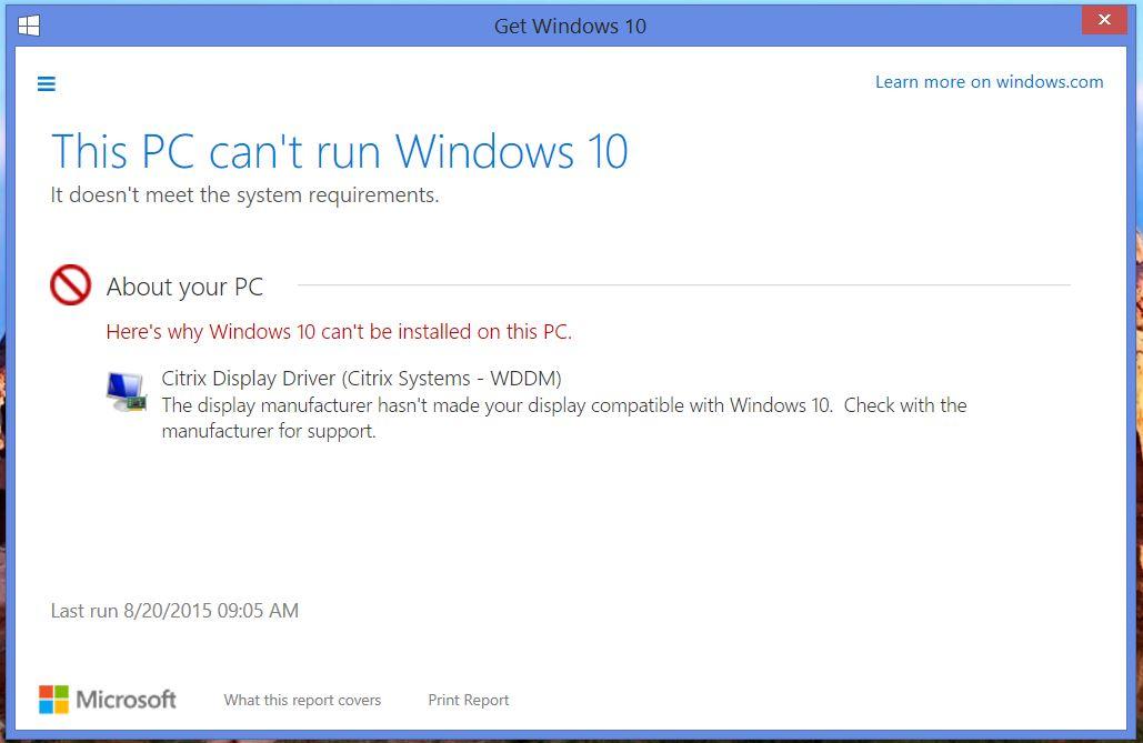 Citrix Windows 10