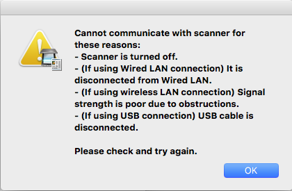 cannot communicate with scanner for these reasons