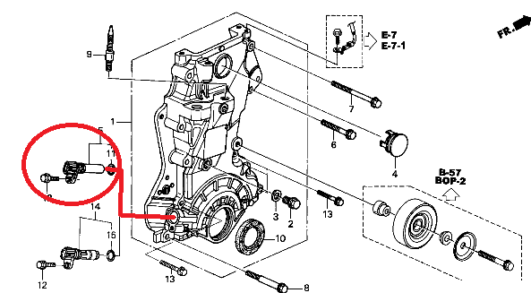 where is location of crankshaft position sensor in honda