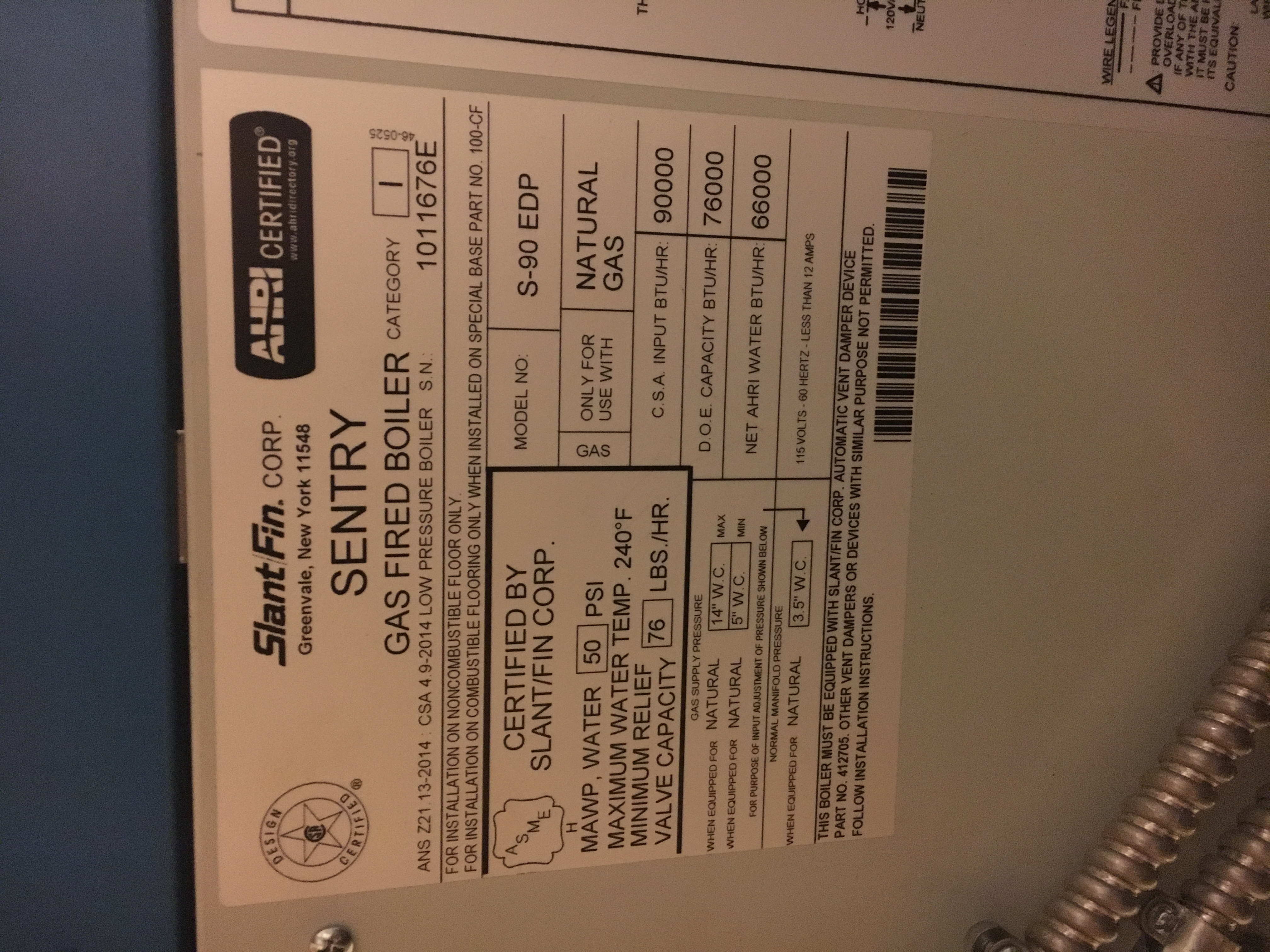 I Have A Sentry Gas Fired Boiler With An Old Battery Powered Slant Fin Wiring Diagram S90 Photo