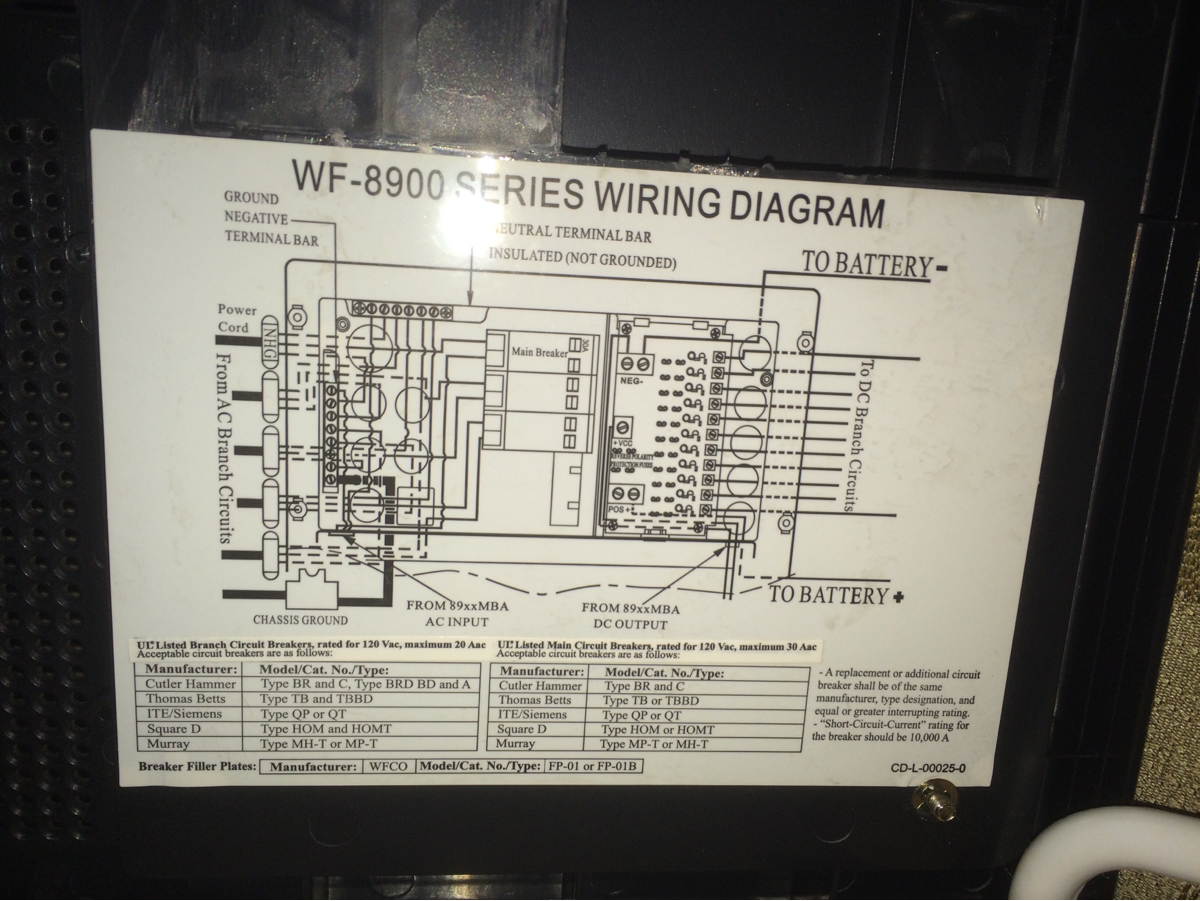 I Have A Wf 8900 Series Helping Power Panel For My Camper Isno Longer Charging The Battery The Fan Is Turning In His