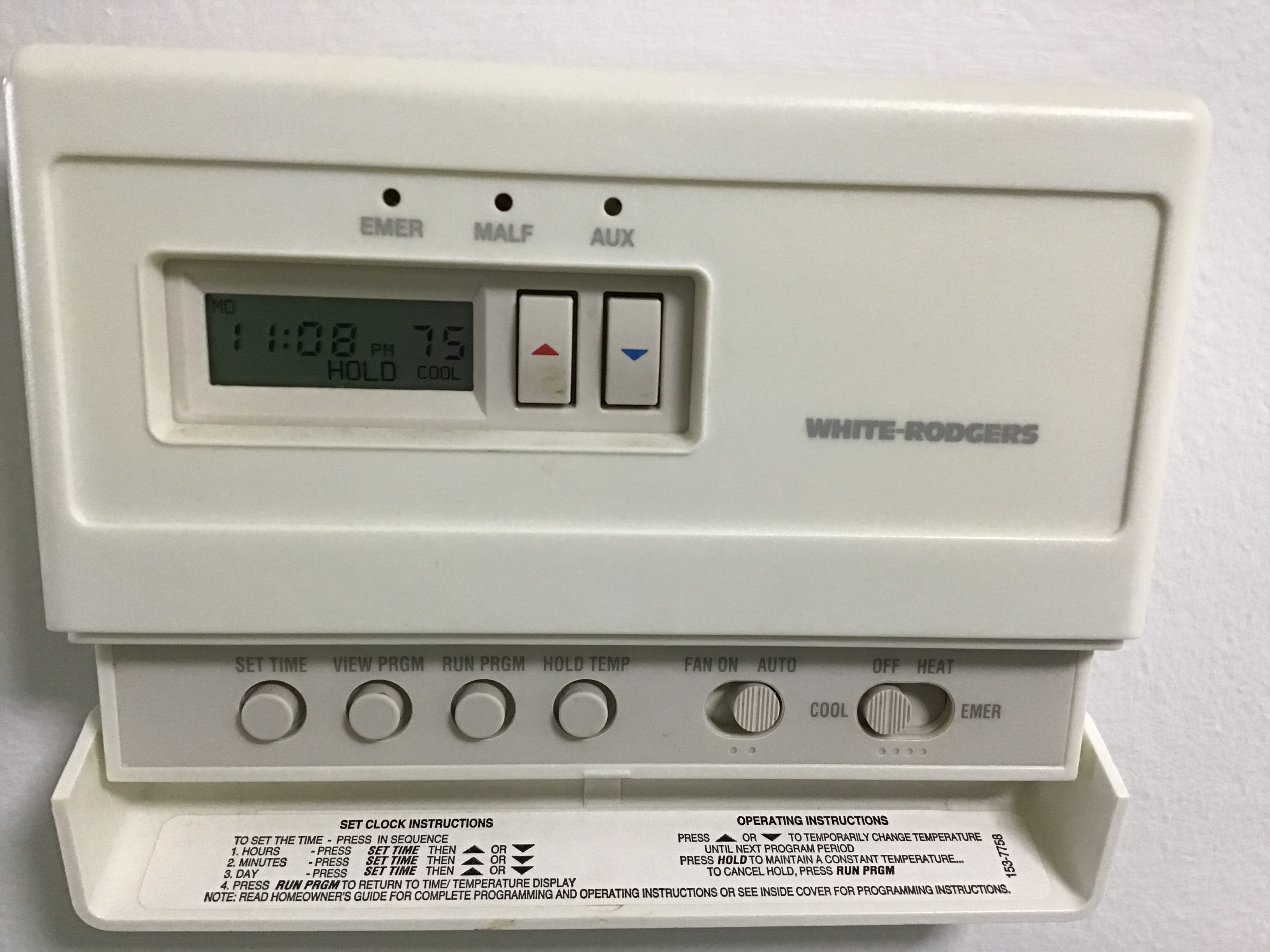 Set a default temp on thermastate when power goes out on