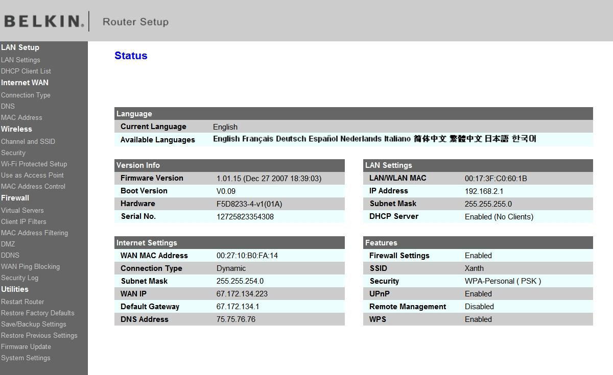 Belkin dhcp client list not updating