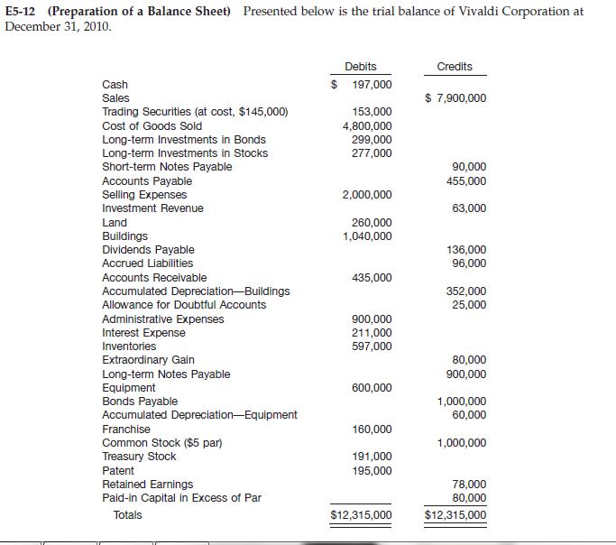 Prepare a balance sheet at December 31, 2010, for Vivaldi ...