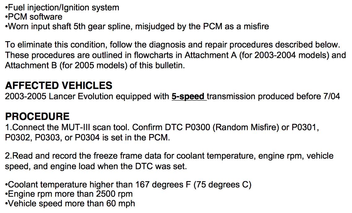 2004 Lancer 2 0L, misses real bad under load Code po304