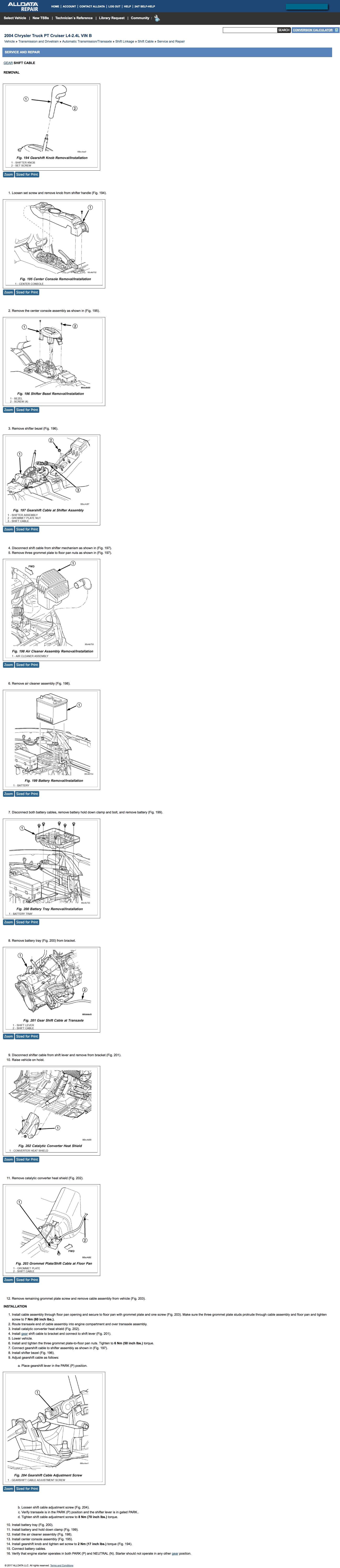 pt cruiser manual transmission shift linkage