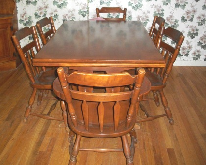 I HAVE A SOLID ROCK MAPLE ANTIQUE DINING ROOM SET. THERE IS A ...
