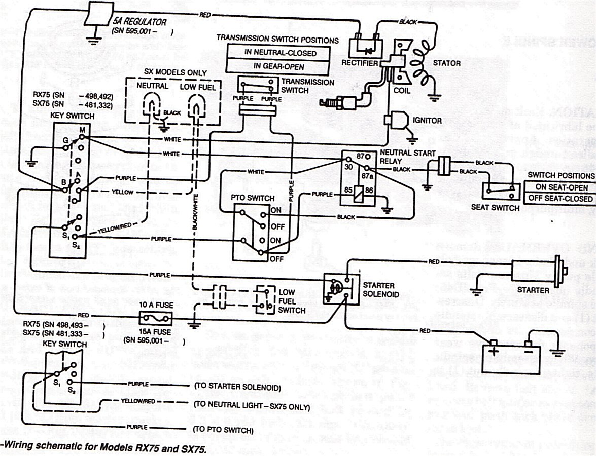 I have an RX75 Deere that will run, but some small object is overheating  ridiculously. Looks like a Black plastic | Rectifier Wiring Diagram For John Deere |  | JustAnswer