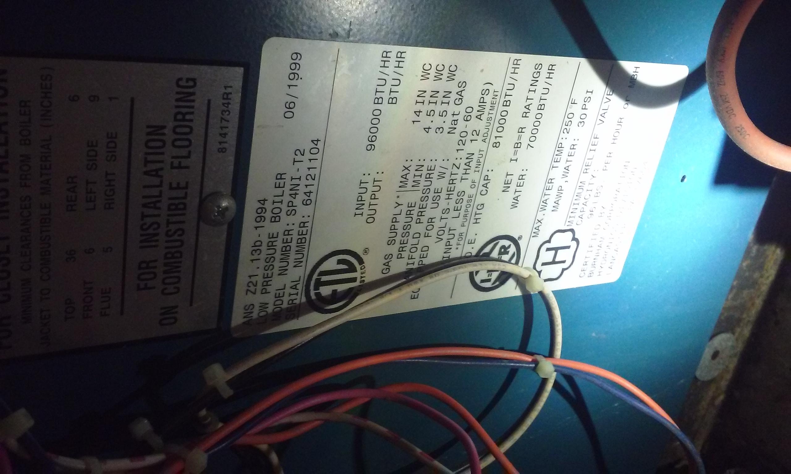 Have A Burnham Sp4 Ni Gas Fired Boiler With Indirect Water Heater Wiring Diagram Schematicburnham 0814151620a