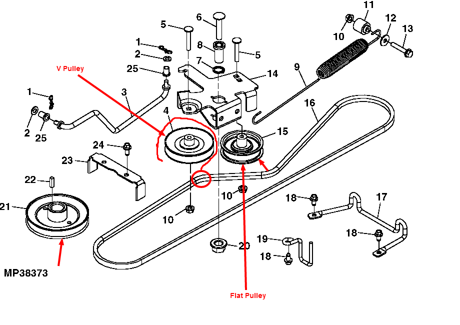 Wiring Diagram For John Deere X304 : I need the diagram to replace drive belt on