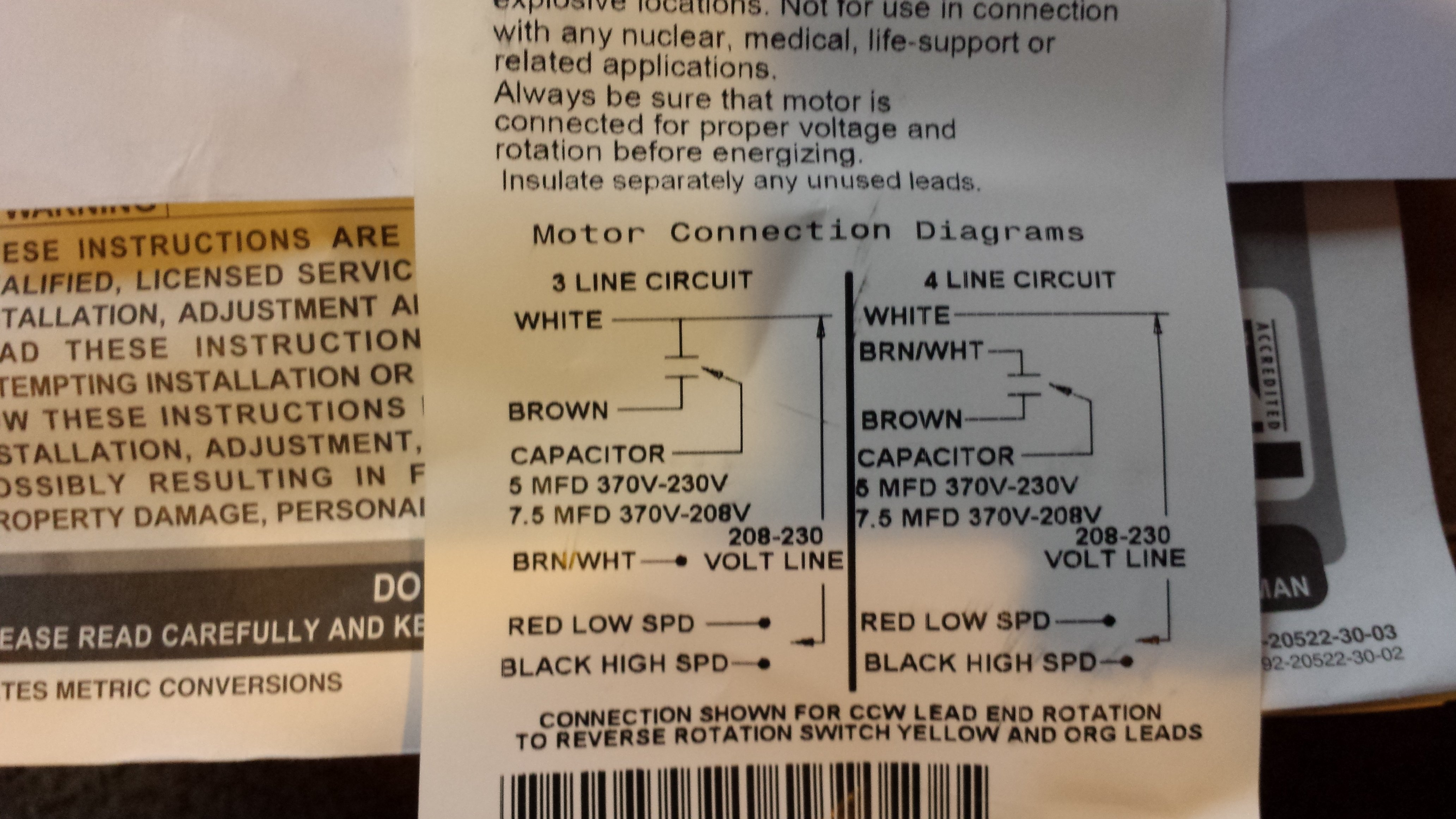 I Am Replacing The Condenser Fan Motor Old Has 3 Wires On Ac Run Capacitor Wiring Diagram To Dayton It Brown Black Orange Side Defrost Board