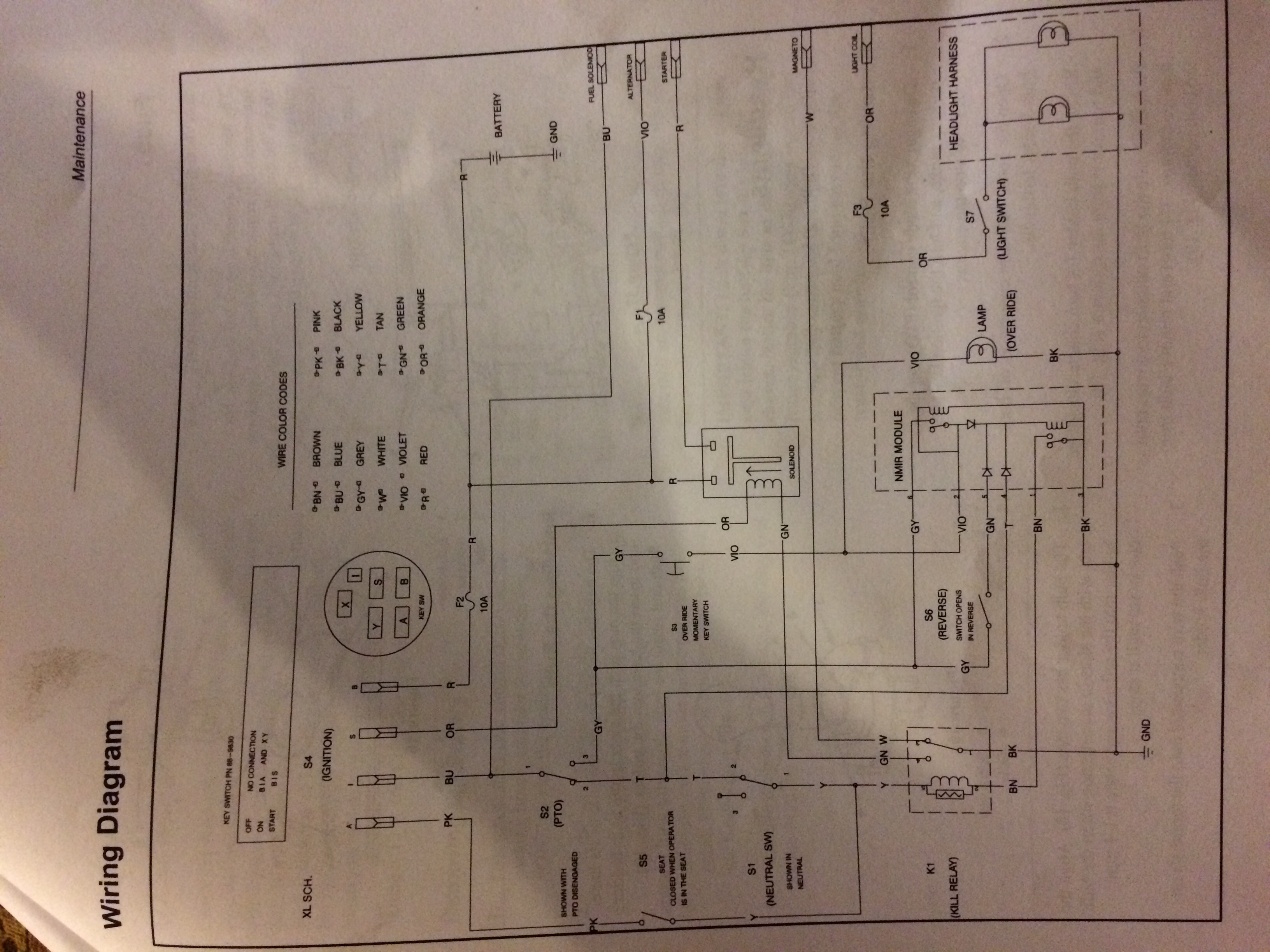 I was given a toro wheel horse 16-38hxl It doesn't run. There is a Toro Wheel Horse Wiring Diagram on