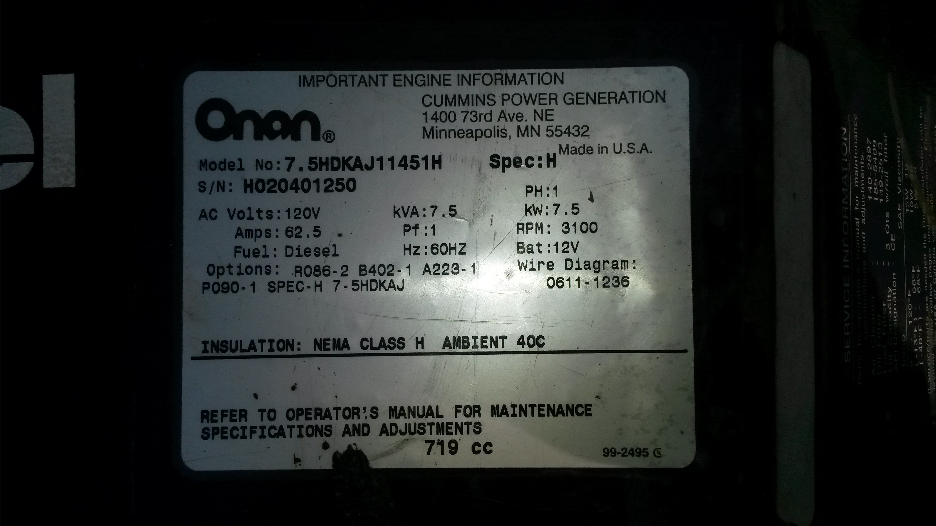 Onan 7500 Quiet Diesel Manual