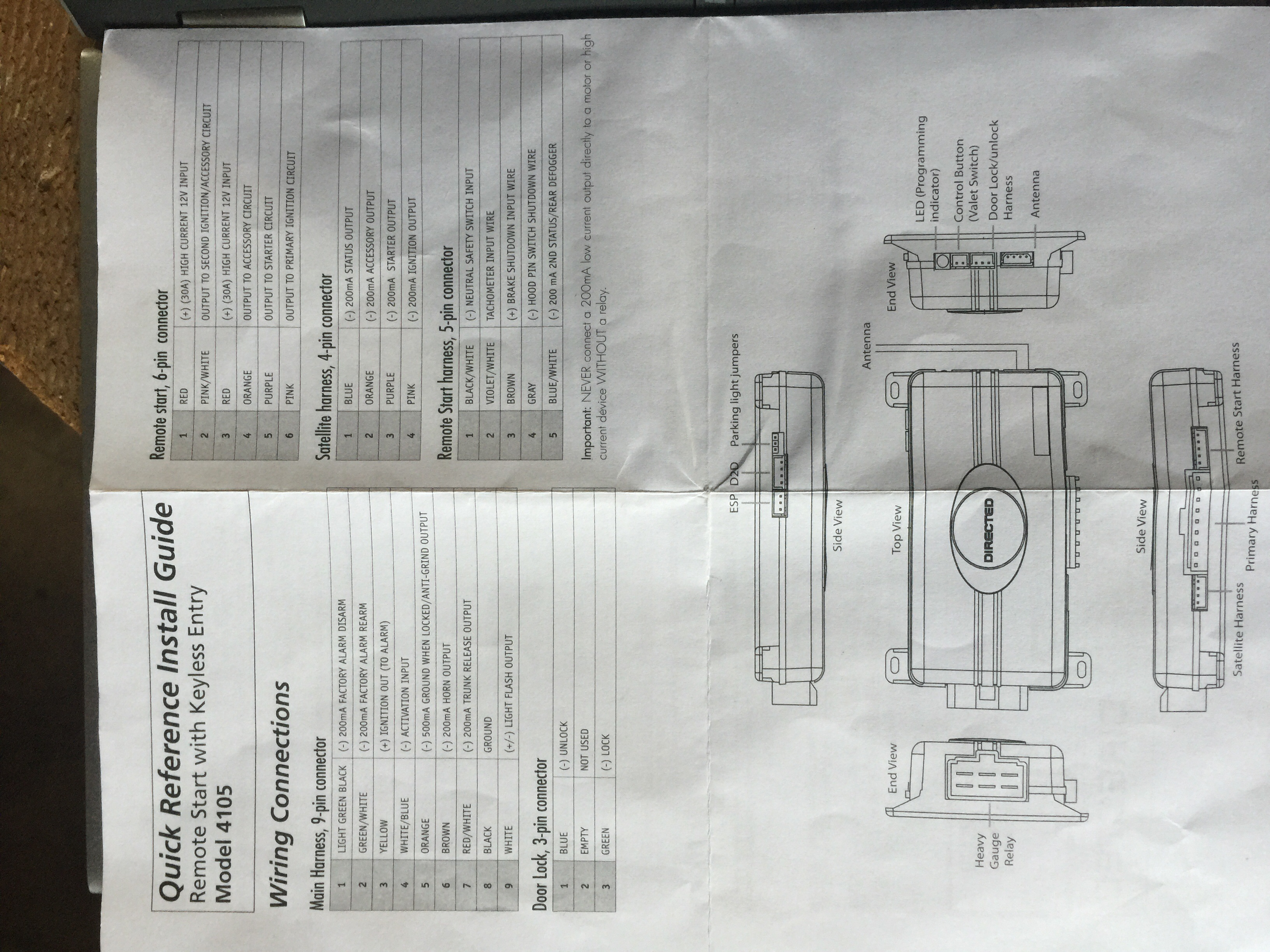 Viper 4105v Remote Start Wiring Diagram Wiring Schematics And