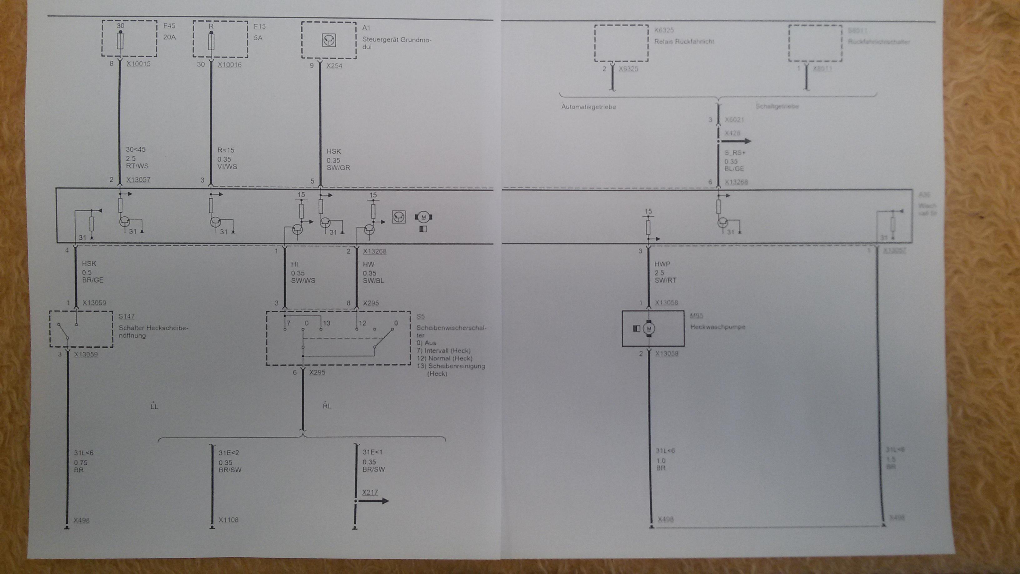 schaltplan f r den heckwischer vom e46 touring 01 2005. Black Bedroom Furniture Sets. Home Design Ideas