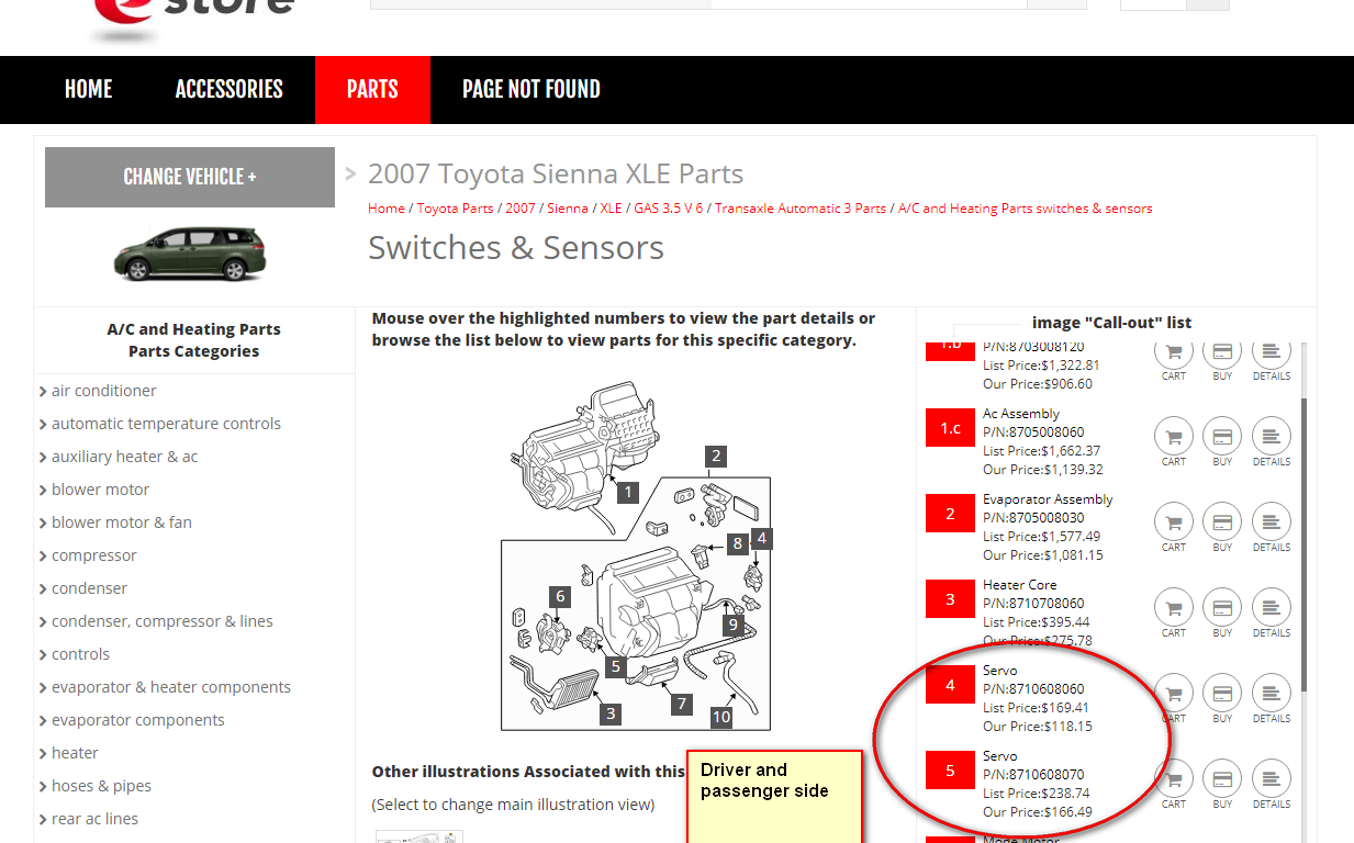 Toyota Sienna Service Manual: Rear Air Mix Damper Position Sensor Circuit