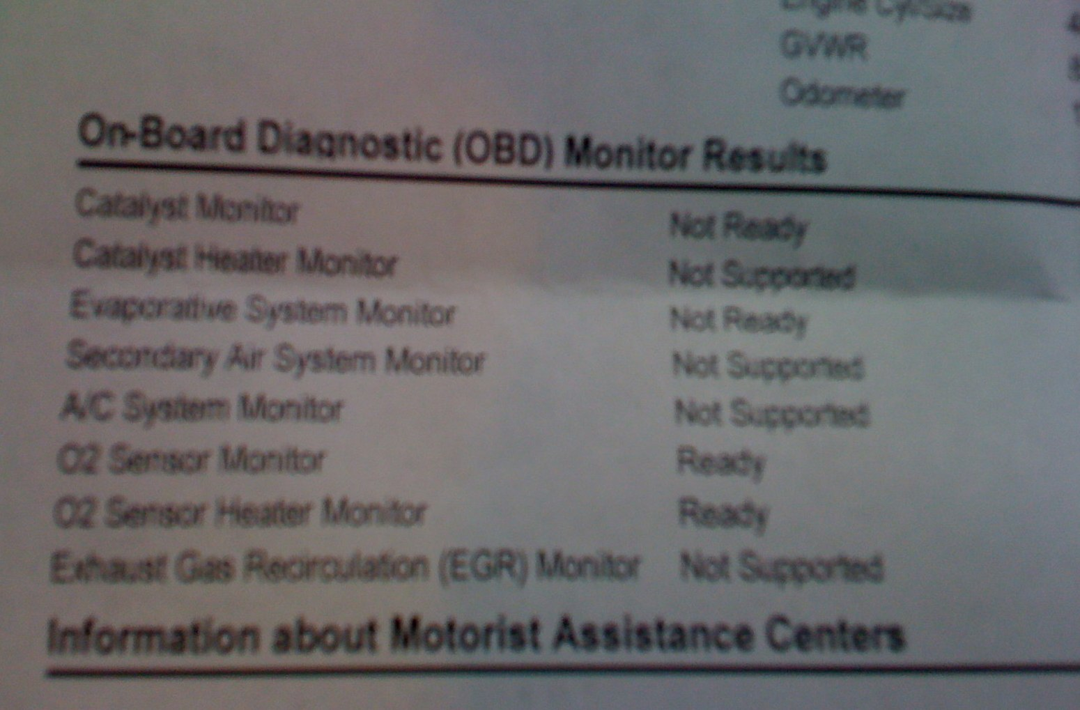 My 2002 Camry failed inspection because the OBD read