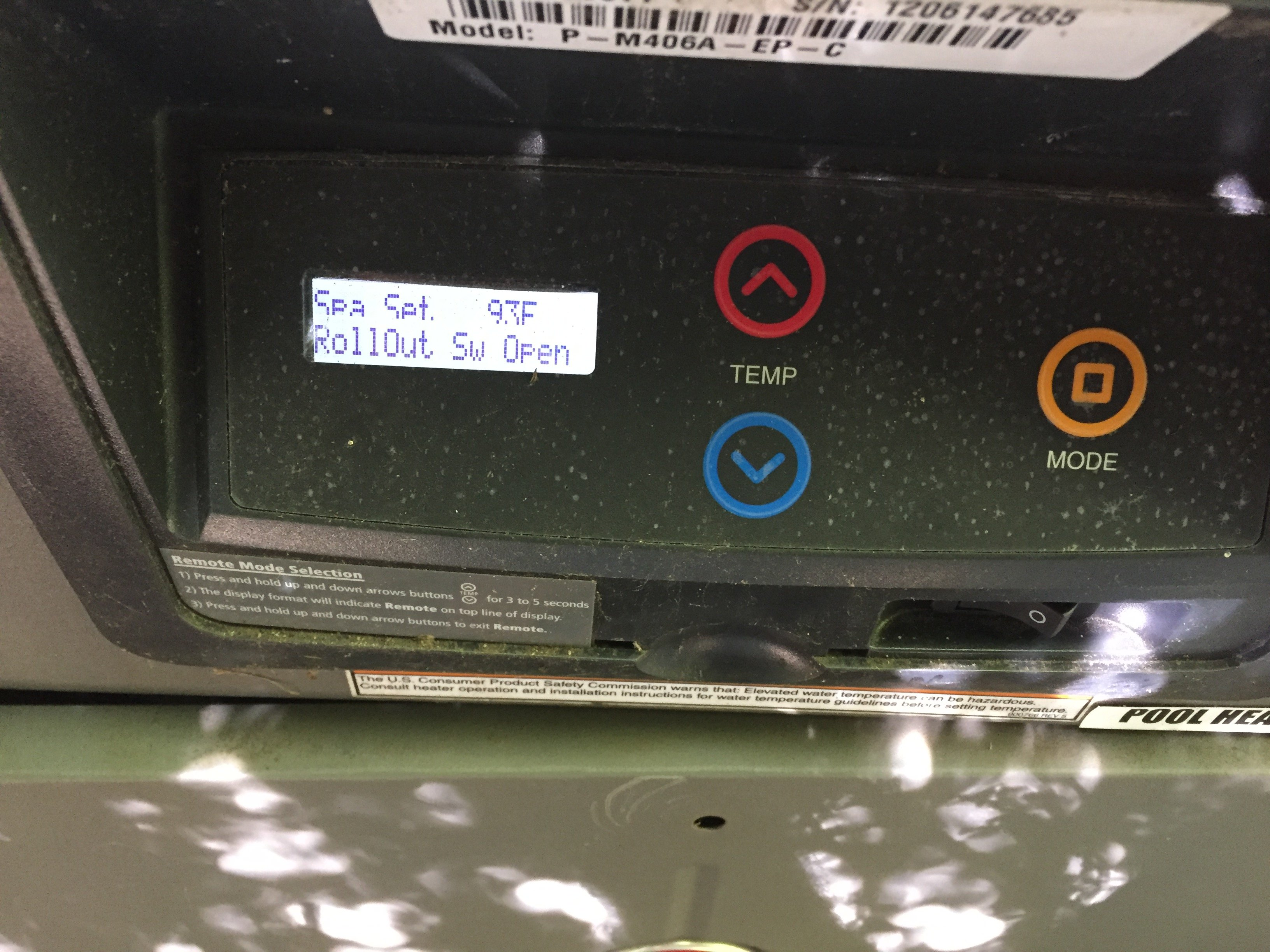 My Pool Heater Says Sw Roll Out Switch Open