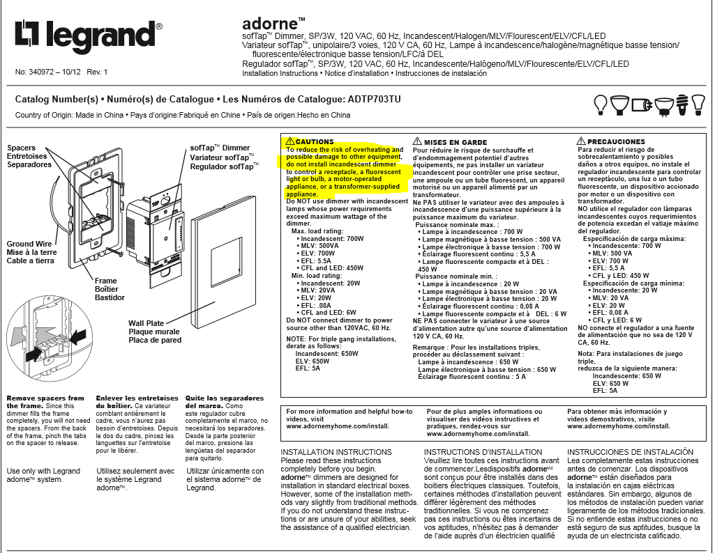 Have A Legrand Adorne Softap Dimmer Switch That Just Manual Guide