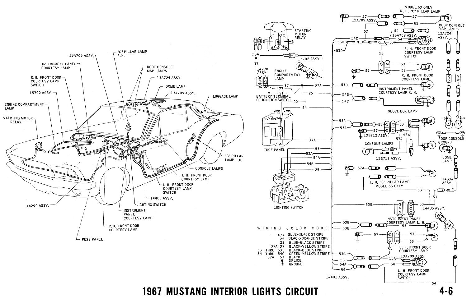 68 mustang underdash wiring  looking at the wiring schematic  i u0026 39 m confused  the two wires for