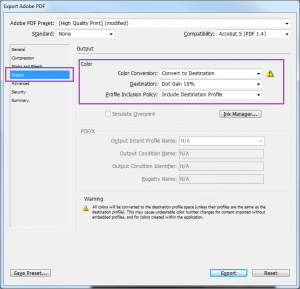 PDF Export Options dialog box