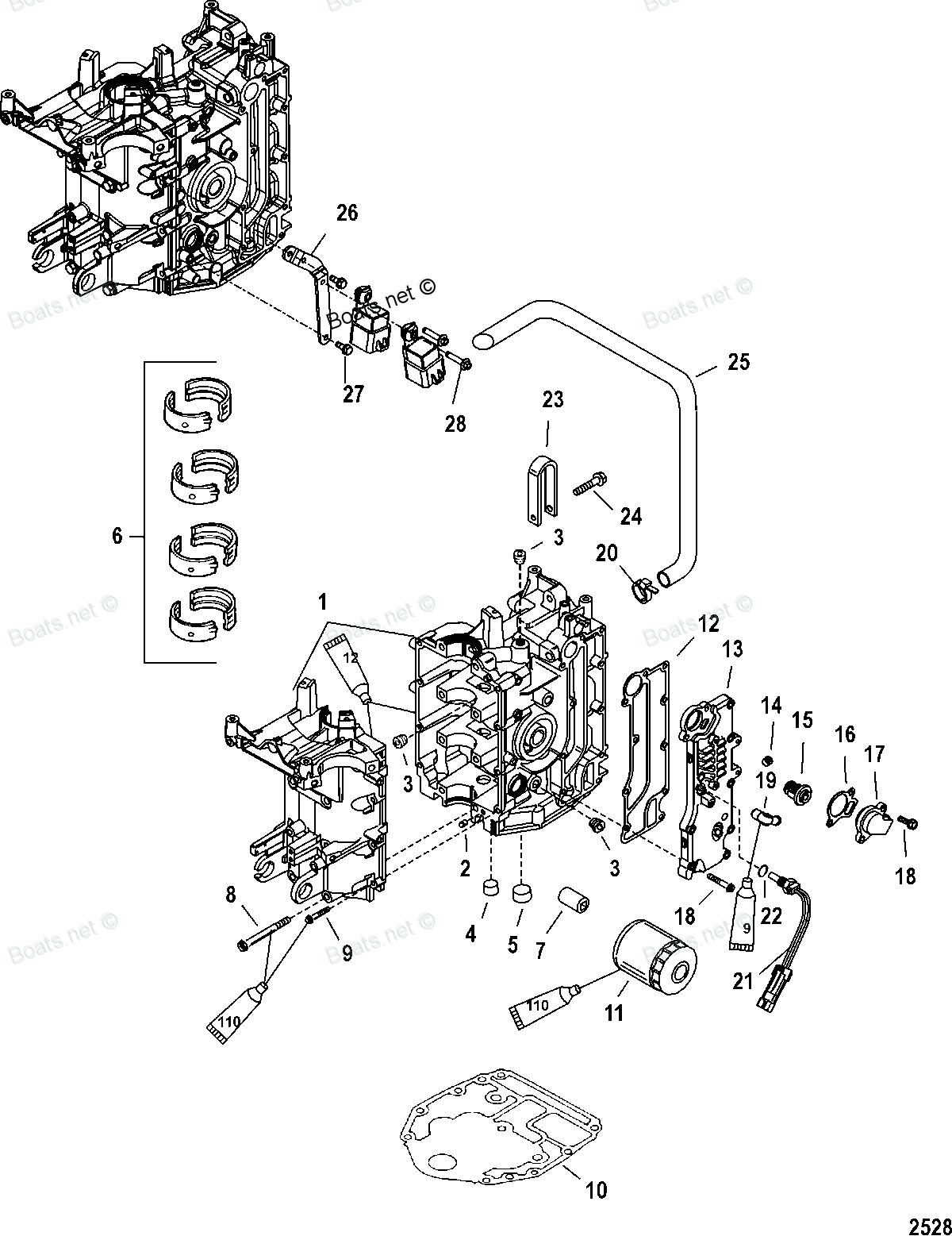 Diagram of 40 Carb (3 CYL.)(4-STROKE) Mercury Outboard 0T409000 THRU 1B226999 Cylinder Block Diagram and Parts