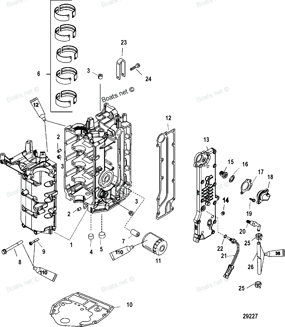 Diagram of 40 EFI (4 CYL.)(4-STROKE) Mercury Outboard 1C050252 & Up Cylinder Block and Crankcase Diagram and Parts