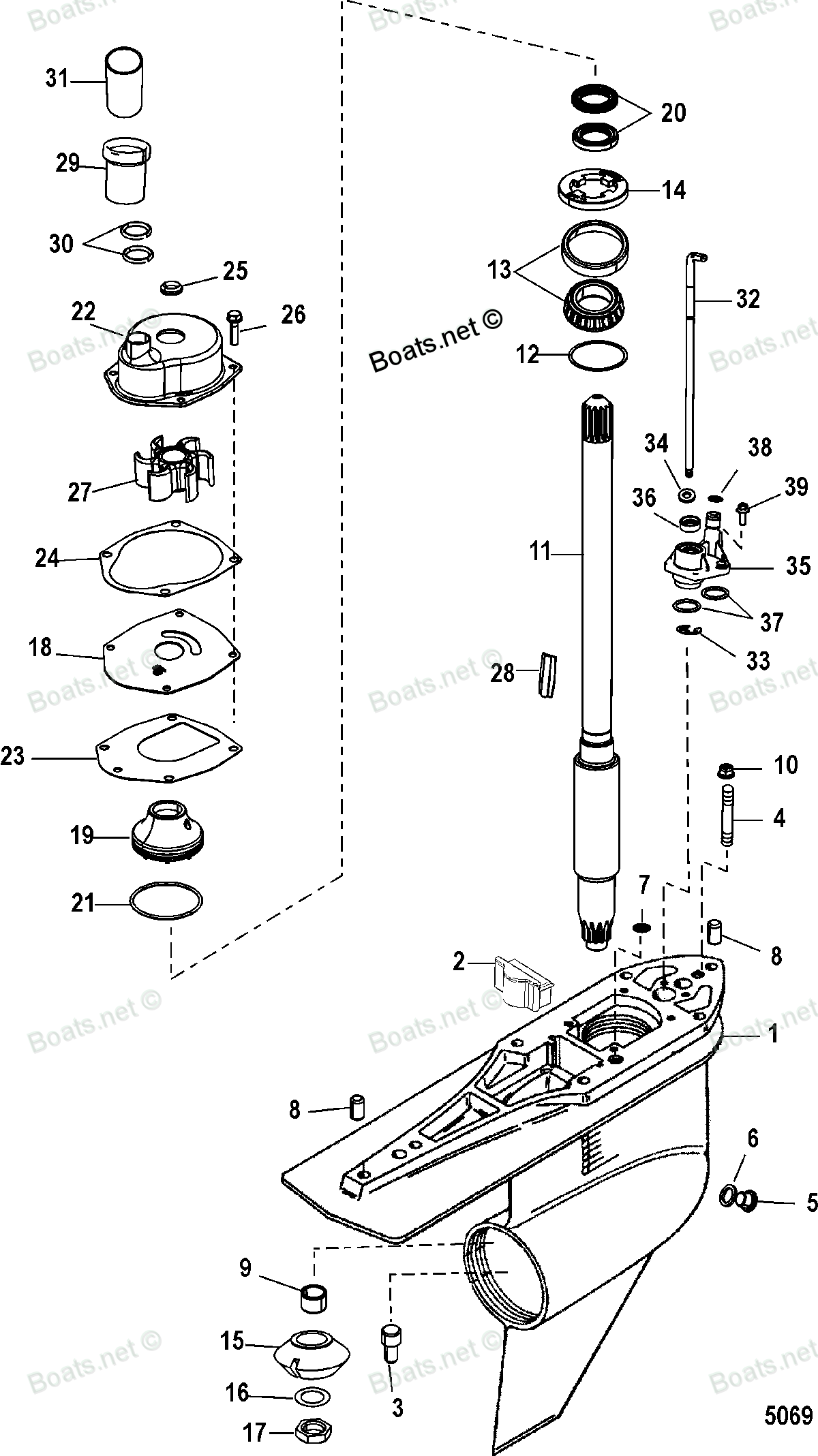 Diagram of Alpha One Gen II (Drive & Transom) Mercruiser 0L100040 & Up (1998 AND UP) GEAR HOUSING(DRIVESHAFT)(STANDARD ROTATION) Diagram and Parts