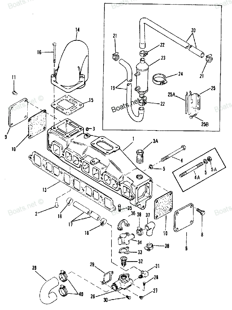 Diagram of 3.0L - (GM 181CID I4) Mercruiser 0C856559 THRU 0F353099 (1990-1994) EXHAUST MANIFOLD AND WATER SYSTEM (WITH END CAPS) 3.0LX Diagram and Parts