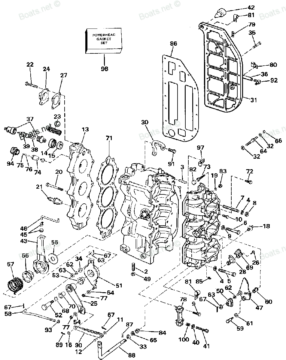 Diagram of 1988 J70TLCCA Evinrude / Johnson Johnson Outboard CYLINDER & CRANKCASE Diagram and Parts