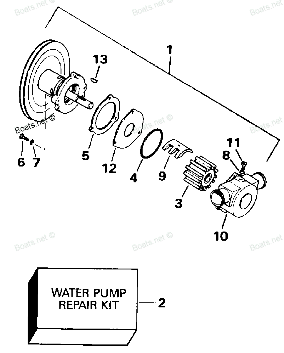 ... Diagram of 1994 502ACPMDA OMC Cobra Sterndrive WATER PUMP Diagram and  Parts
