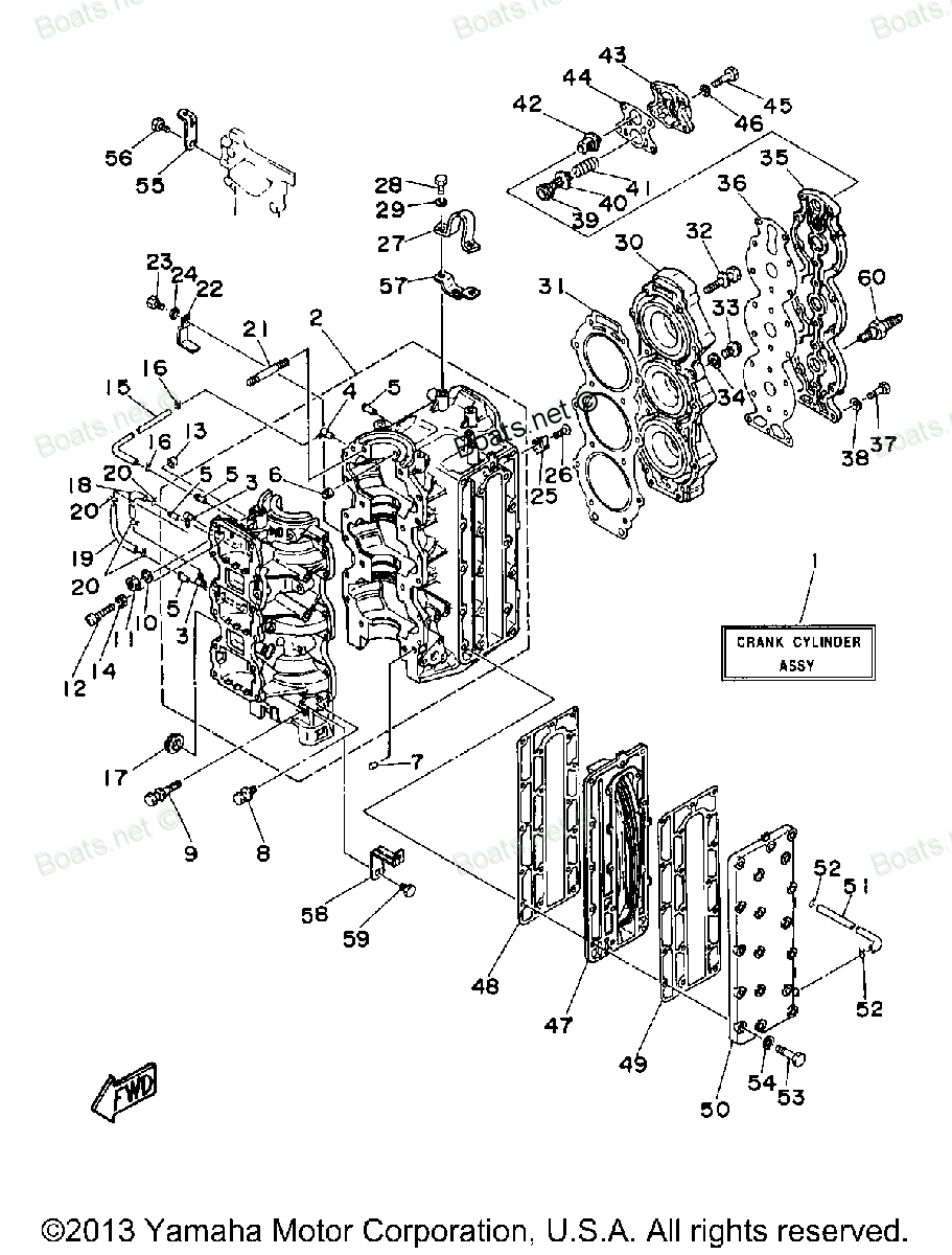 Diagram of 1997 C80TLRV Yamaha Outboard CYLINDER CRANKCASE Diagram and Parts