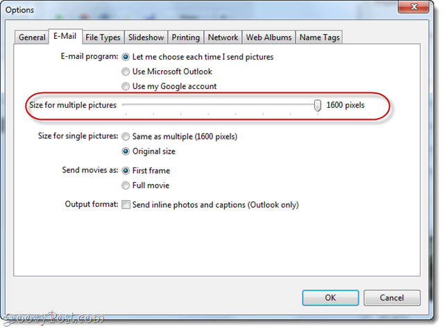 change email options in picasa
