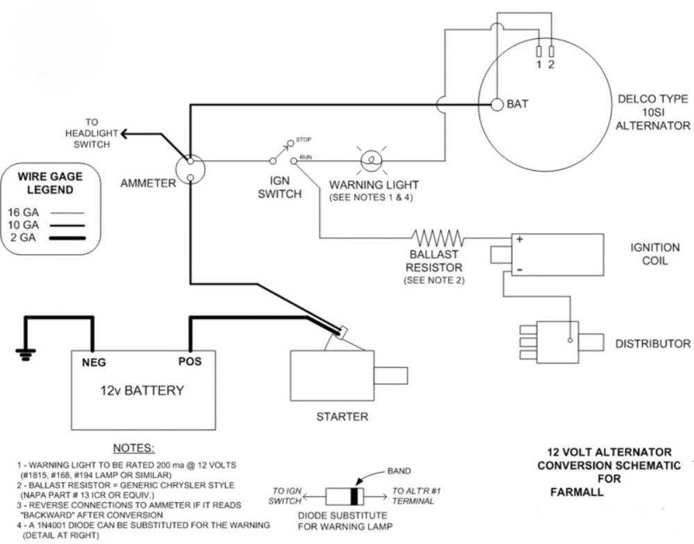 I have a Farmall Model that I want to change from the 6-volt ...  Volt Alternater Wiring Schematic on electric schematic, compressor schematic, trailer schematic,