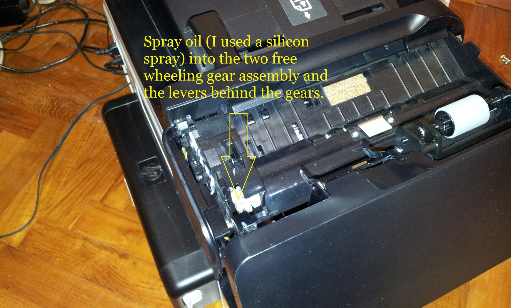 My hp officejet pro 8500a plus will not feed paper to be scaned spray oil here